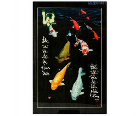 Tranh thư pháp sơn mài chữ Lộc vẽ cá Chép MNV-SMA301