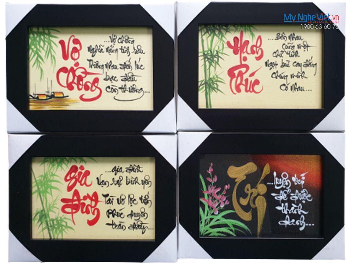 Tranh chữ Theo Yêu cầu Vợ Chồng- Hạnh Phúc MNV-TP110-3